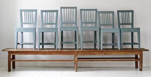 Lantliga stolar i blått   SÅLDA